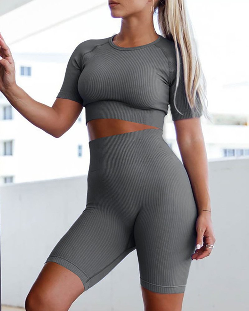 Solid Short Sleeve Sporty Top & Shorts Set
