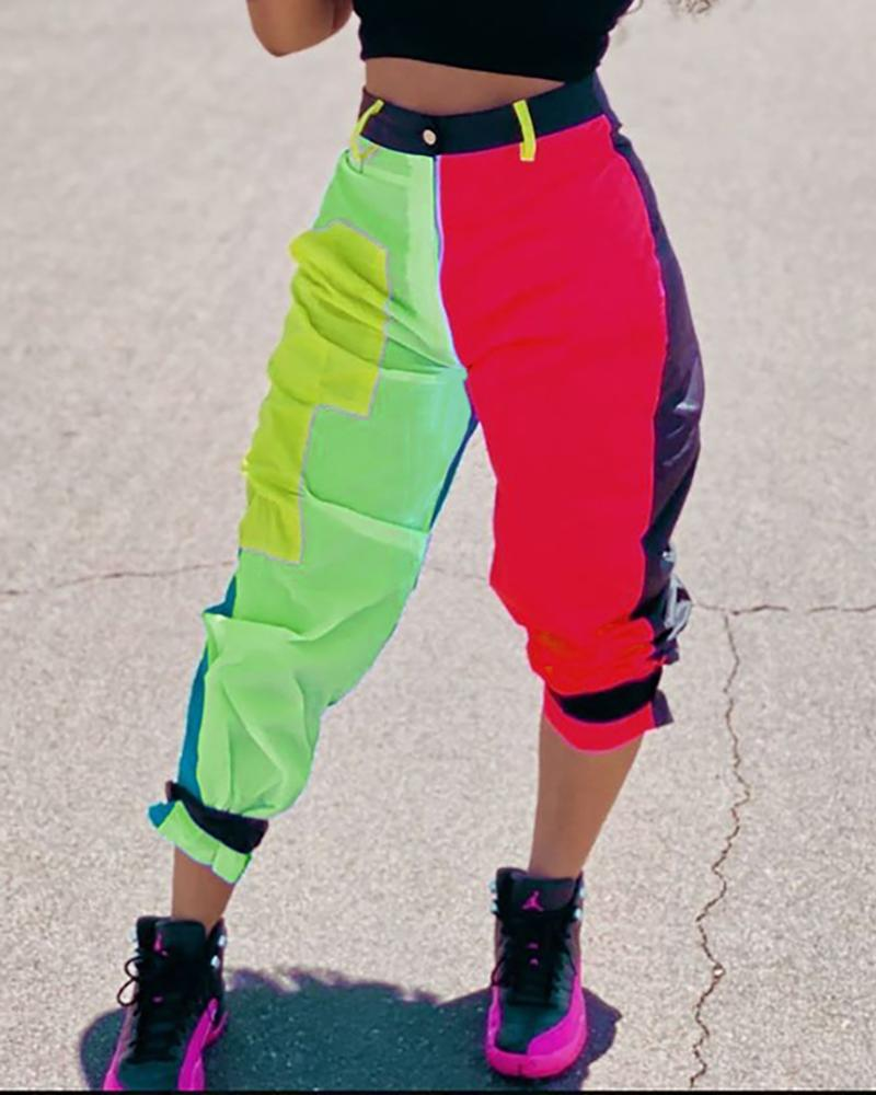 Colorblock Tie Detail Cargo Cropped Pants