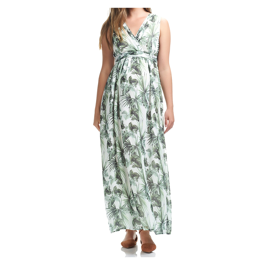 Mums & Bumps Soon Maternity Pin-Tuck Maternity Maxi Dress White Palm