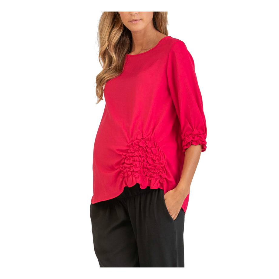 Mums & Bumps Attesa 3/4 Sleeve Maternity Blouse with Ruffles Red