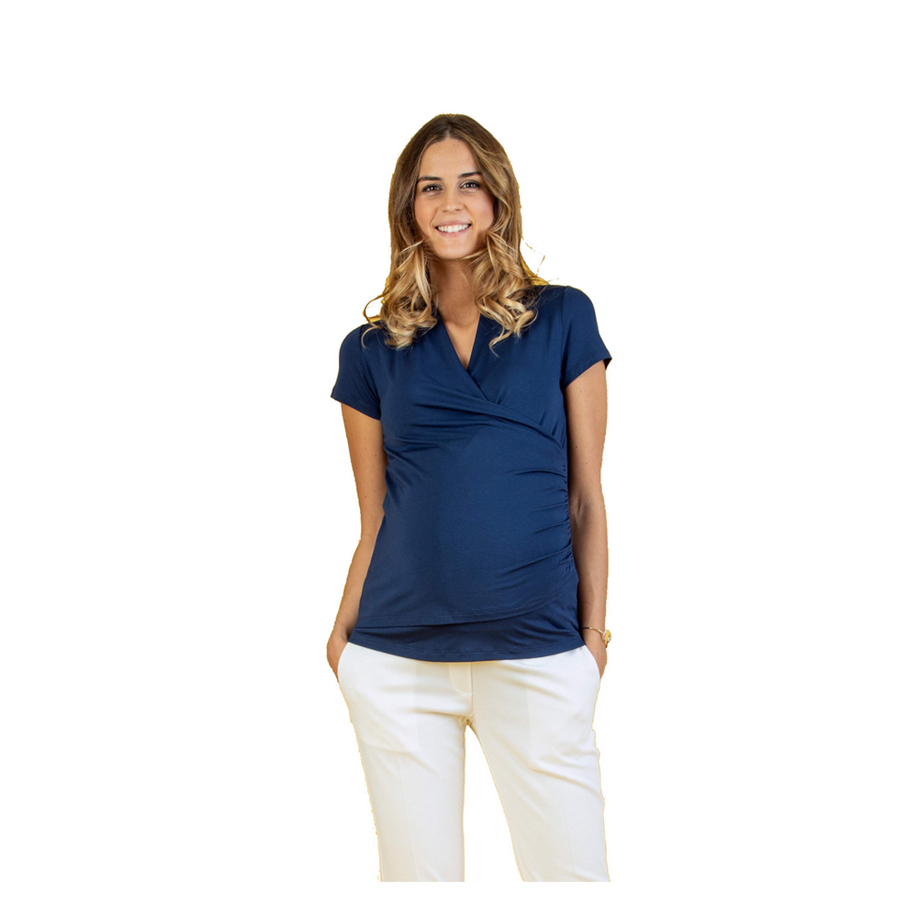 Mums & Bumps Attesa Wrap Maternity & Nursing Top Blue