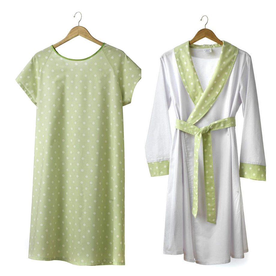 Mums & Bumps dearjohnnies Mums & Bumps Finlay 2Piece Hospital Labor & Delivery Gown with Robe Set