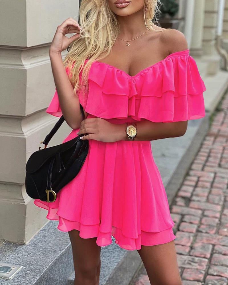Off Shoulder Ruffle Fit Flare Dress