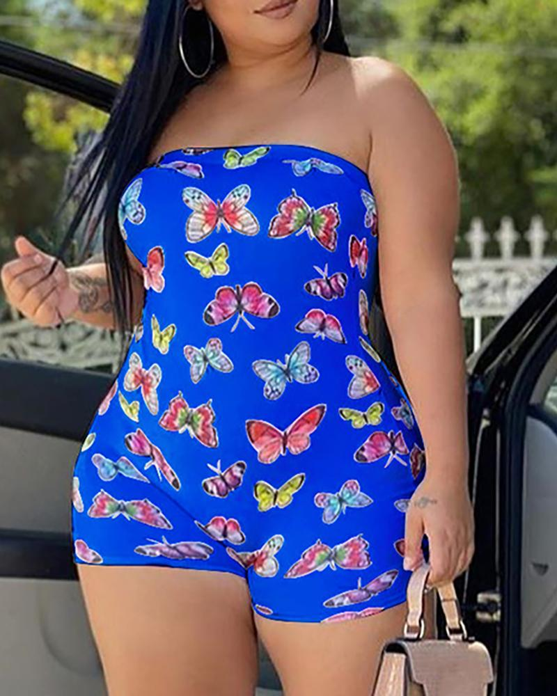 Butterfly Print Bandeau Sleeveless Romper