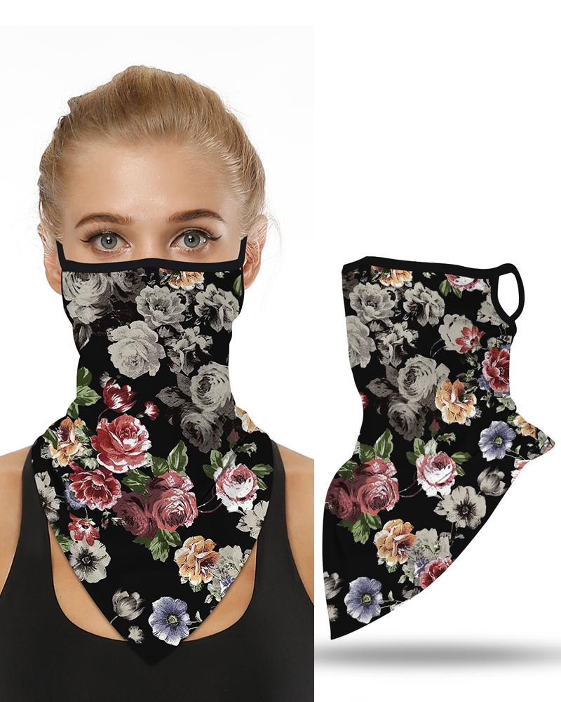 Floral Print Breathable Ear Loop Face Cover Windproof Motorcycling Dust Outdoors Bandana
