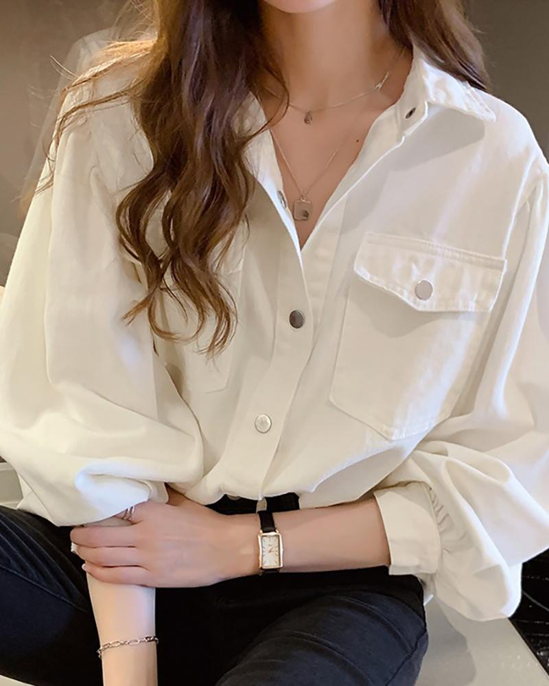 Brief Solid Button-up Casual Shirt