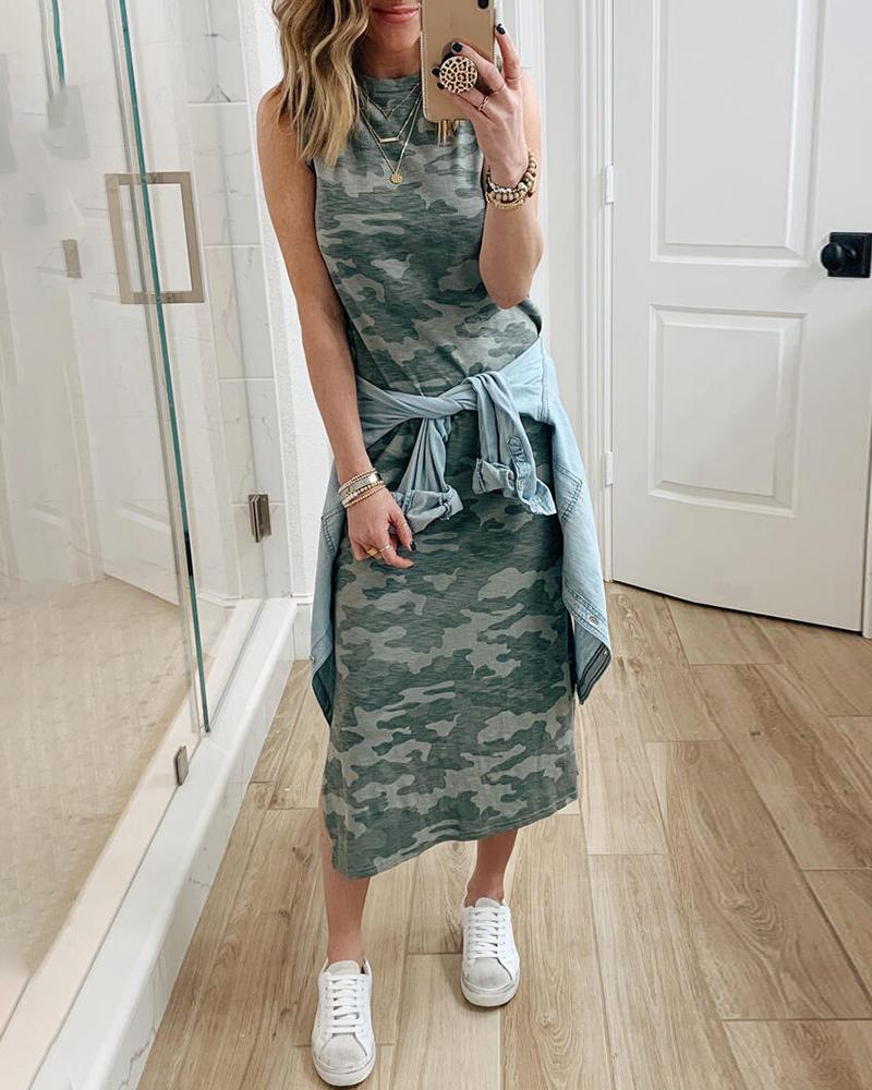 Camouflage Print Sleeveless Casual Maxi Dress