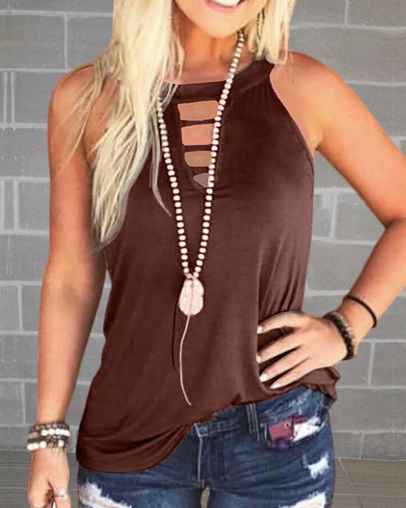 Solid Round Neck Cut Out Sleeveless T-shirt