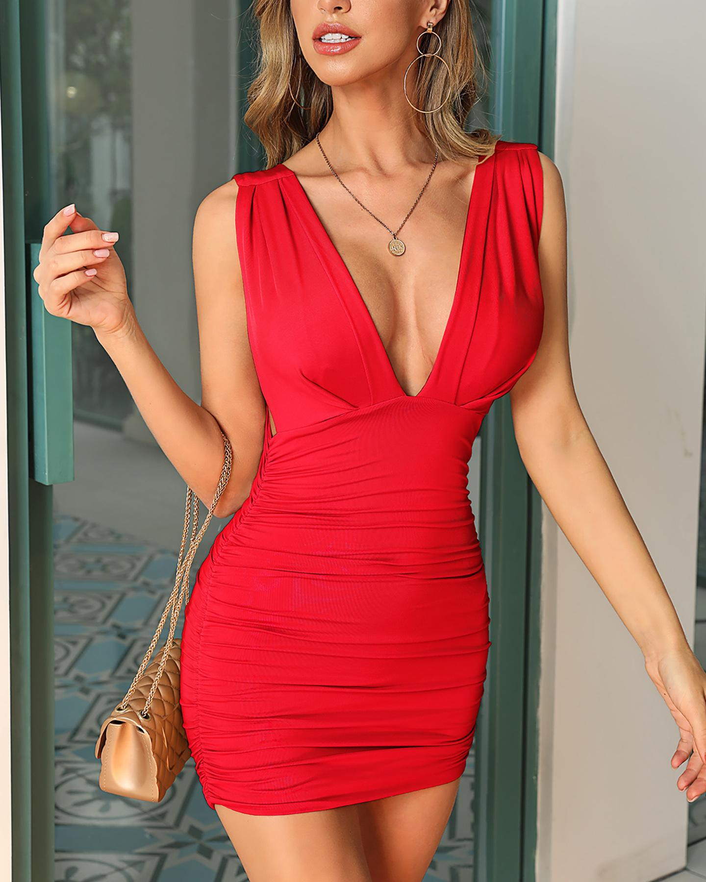 Sleeveless Ruched Open Back Dress