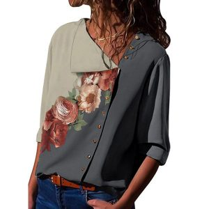 Floral Casual V-Neckline 3/4 Sleeves Blouses (1645525482)