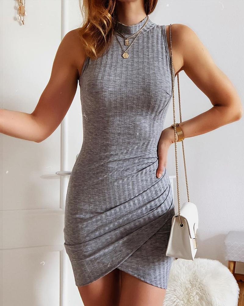 Ribbed Solid Sleeveless Bodycon Dress