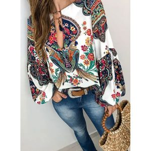 Floral Casual V-Neckline Long Sleeve Blouses (1645386098)