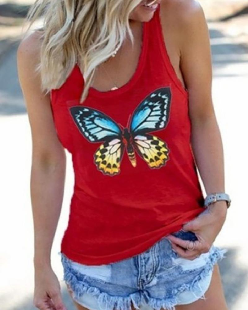 Butterfly Print Sleeveless Casual Top