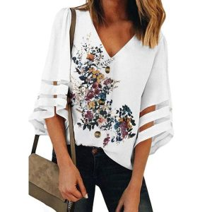 Floral Casual V-Neckline 3/4 Sleeves Blouses (1645547308)
