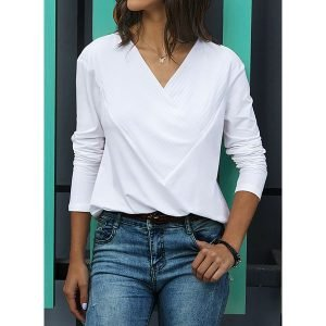 Solid Casual V-Neckline Long Sleeve Blouses (1645379086)
