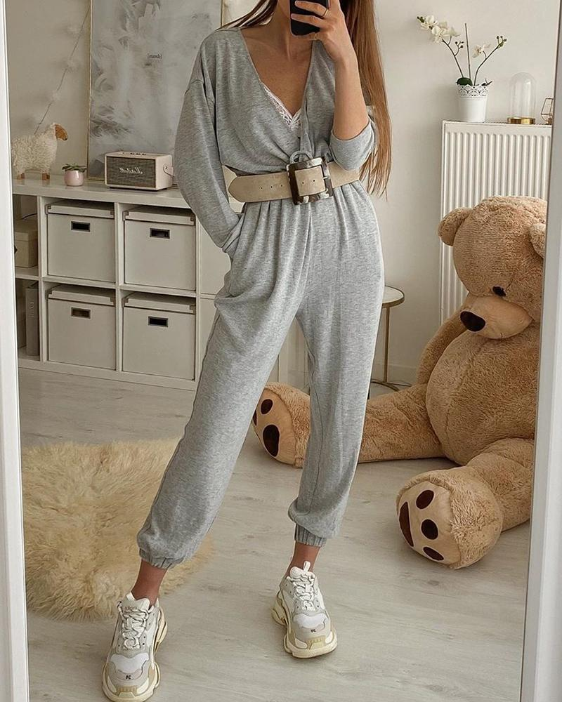 Solid V-neck Long Sleeve Casual Jumpsuit