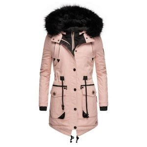 Long Sleeve Hooded Buttons Pockets Parkas Coats (1715627032)