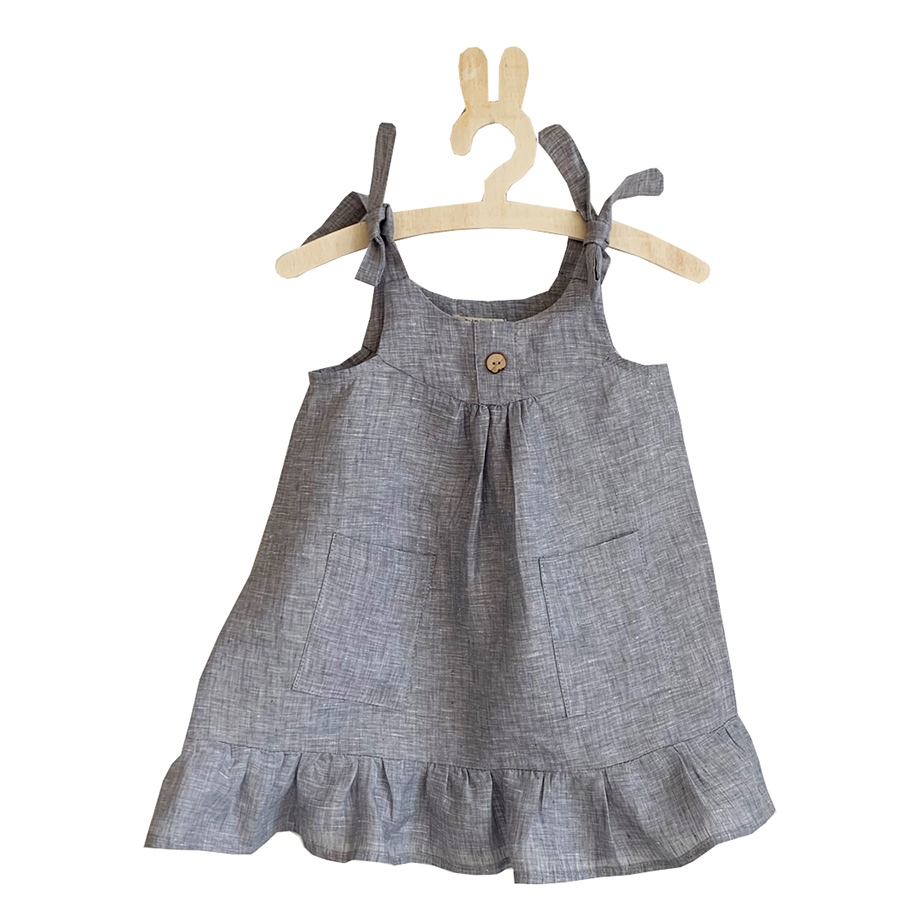 Minimou Kids Linen Dress for Girls Blue