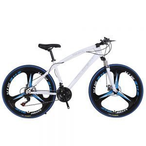 POLECE Python Shaped Mountain Bike 26 Inch Double Disc Brake Aluminum Alloy 21 Speed Gears - Blue White